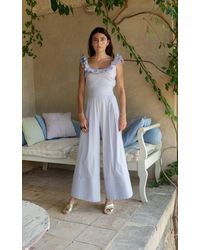 Luisa Beccaria Striped Cotton-blend Wide-leg Pants - Purple