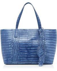 Nancy Gonzalez Erica Medium Crocodile Zipper Bag - Blue