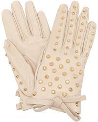 Prada - Studded Leather Gloves - Lyst