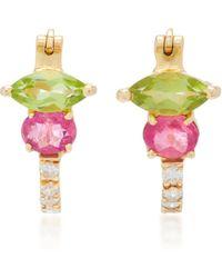 Carolina Neves 18k Gold, Peridot, Rubellite And Diamond Earrings - Multicolor