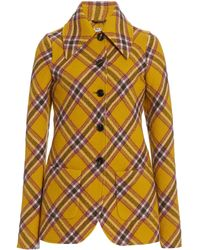 Miu Miu Plaid Wool-cotton Blazer - Yellow