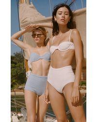 Faithfull The Brand Farrah Textured Bikini Top - White