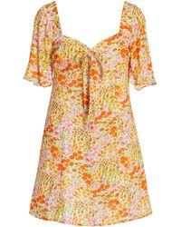 HVN Mini Emily Printed Crepe Dress - Orange