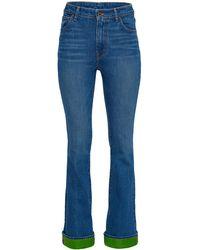Brandon Maxwell Satin-trimmed High-rise Flared-leg Jeans - Blue