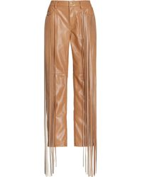Hellessy Allie Fringed Faux Leather Skinny Pants - Brown