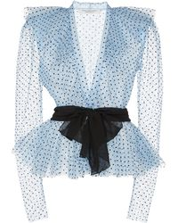 Philosophy Di Lorenzo Serafini Ruffled Polka-dot Flocked Tulle Top Siz - Blue