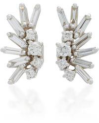 Suzanne Kalan - Post 18k White Gold Diamond Earrings - Lyst