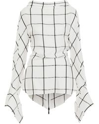 Maticevski Courageous Checked Bell Sleeve Blouse - Multicolor