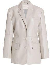 Matériel Structured Faux Leather Blazer - White