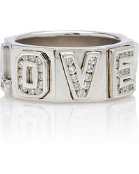 Lynn Ban I Love You Sterling Silver And Diamond Ring - Metallic