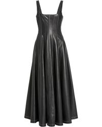 STAUD Wells Vegan Leather Dress - Black