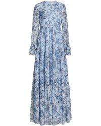 Erdem Alvaro Silk Paisley Gown - Blue