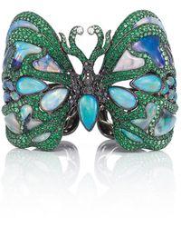 Wendy Yue 18k White Gold, Opal, And Multi Diamond Cuff - Green
