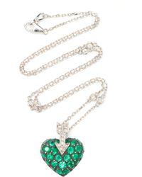 Gioia 18k Gold, Platinum, Silver And Multi-stone Necklace - Green