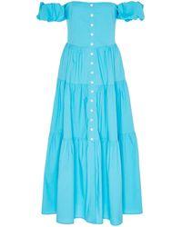 STAUD Elio Off-the-shoulder Tiered Cotton Dress - Blue