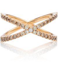 Eva Fehren Fine Shorty Rose-gold Diamond Ring - Metallic