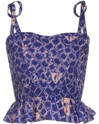 Ulla Johnson Byrdie Printed Cotton Corset Top - Blue