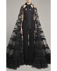 Elie Saab Sheer Tulle And Lace Cape - Black