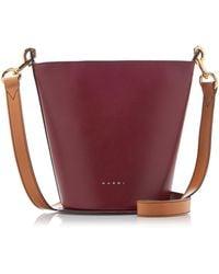 Marni Depot Cylindrical Leather Bucket Bag - Purple