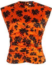 Ganni Ruched Floral Stretch-silk Top - Orange