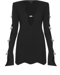 Mach & Mach Tie-detailed Stretch Jersey Mini Dress - Black
