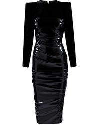 Alex Perry Hart Ruched Jersey-paneled Vinyl Midi Dress - Black