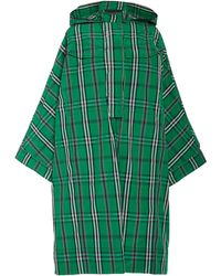 Cedric Charlier - Oversized Plaid Twill Hooded Coat - Lyst