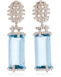 Goshwara 18k White Gold Aquamarine, Diamond Earrings - Blue