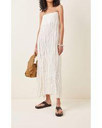 Totême Sleeveless Crinkled Silk Maxi Dress - White