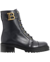 Balmain Ranger Leather Boots - Black