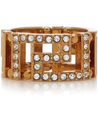 Versace Crystal-embellished Gold-tone Ring - Metallic
