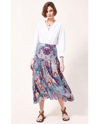 Chufy Ana Printed Cotton-silk Blend Maxi Skirt - Blue