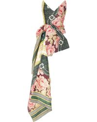 Oscar de la Renta Strapless Asymmetric Floral-print Silk-blend Top - Multicolor