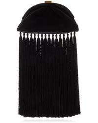 Zimmermann Velvet Fringe Pouch Clutch - Black