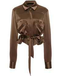 Sally Lapointe Cropped Belted Satin Blouse - Brown