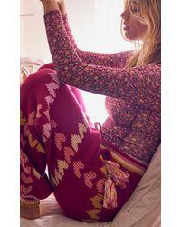 LoveShackFancy Chabela Heart-knit Cotton-blend Pants - Purple