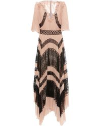 Zuhair Murad Lace-paneled Pleated Crepe Dress - Multicolour