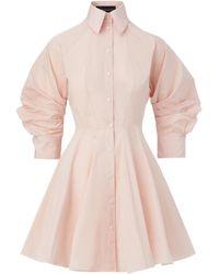 Brandon Maxwell Puff-sleeve Taffeta Mini Shirt Dress - Pink