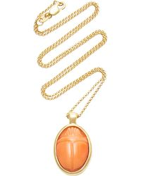 Pamela Love One Of A Kind 18k Gold And Coral Scarab Necklace - Pink