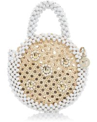 Rosantica Alida Beaded Circle Top Handle Bag - Metallic