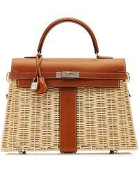 Hermès Hermès 35cm Picnic Barennia And Osier Wicker Kelly Bag - Brown