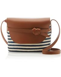 Cesta Collective Striped Leather-trimmed Sisal Shoulder Bag - Multicolor