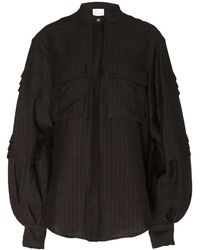 Acler Orwell V-neck Blouson Sleeve Shirt - Black