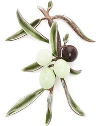 Luz Camino Large Olive Tree Branch Brooch - Green