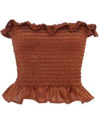 Christian Siriano Knit Strapless Smocked Bodice - Brown