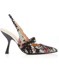 Brock Collection Lace-detailed Printed Jacquard Slingback Court Shoes - Multicolour