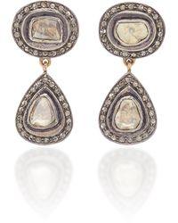 Amrapali Victorian 14k Yellow Gold Diamond Earrings - Black