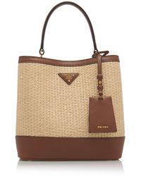 Prada Medium Raffia And Saffiano Leather Double Bucket Bag - Brown