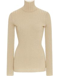 Victoria, Victoria Beckham Slim Metallic Ribbed Turtleneck Sweater Size