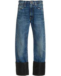 R13 Axl Leather-cuff High-rise Straight-leg Jeans - Blue